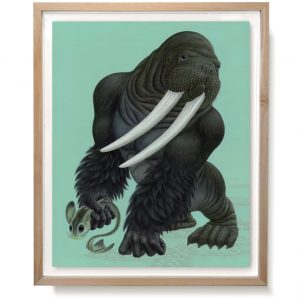 Framed art painting of the Gorillrus Poseidonides by artist Raoul Deleo.